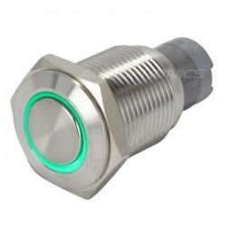 Interrupteur Inox avec Cercle Lumineux Vert 1NO1NC 250V 3A Ø16mm Argent