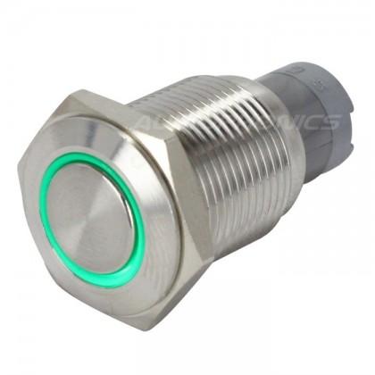 Interrupteur inox argent Cercle lumineux vert 250V 3A Ø16mm