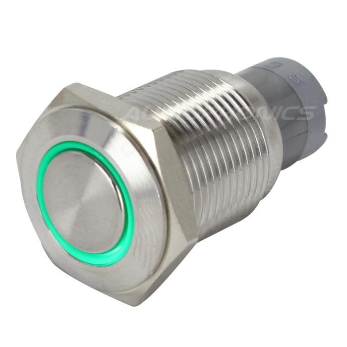 Interrupteur Inox avec Cercle Lumineux Vert 1NO1NC 250V 3A Ø 16mm Argent