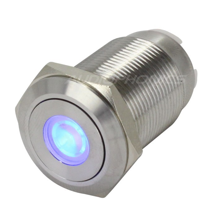 Interrupteur Inox avec LED Bleue 2NO2NC 250V 5A Ø 19mm Argent