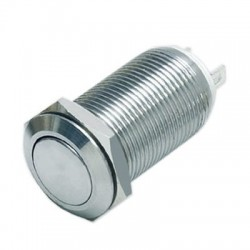 Inox Push Button 1NO 36V 2A Ø12mm Silver