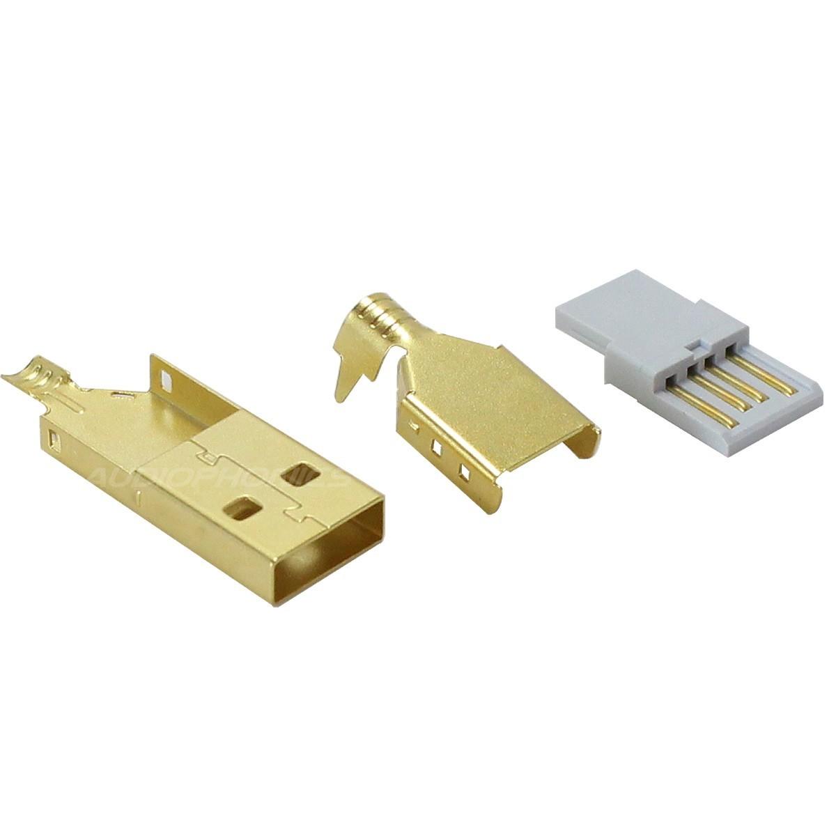 Connecteur USB mâle Type A DIY Plaqué Or 3µ