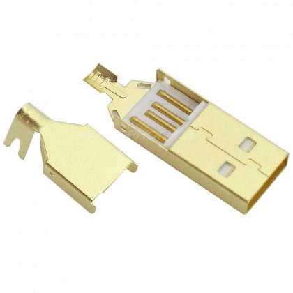 DIY USB type A Plug Gold Coated