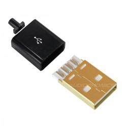 Connecteur USB mâle Type A DIY doré noir