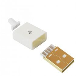 Connecteur USB mâle Type A DIY doré blanc