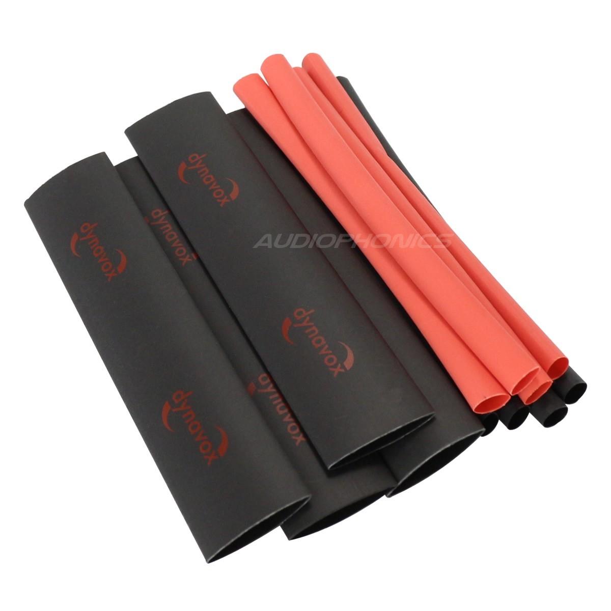 DYNAVOX Kit Gaines Thermorétractables 2:1 Rouge et noir (x12) 12cm