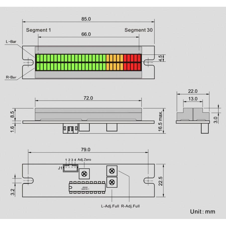 LED Bar Graph vu meter Dual Column to display voltage - Audiophonics