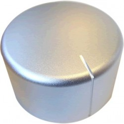 Bouton aluminium 40×28mm Silver arrondi Axe méplat Ø6mm