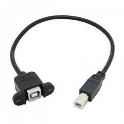 Panel mount USB-B male to USB-B female 30cm