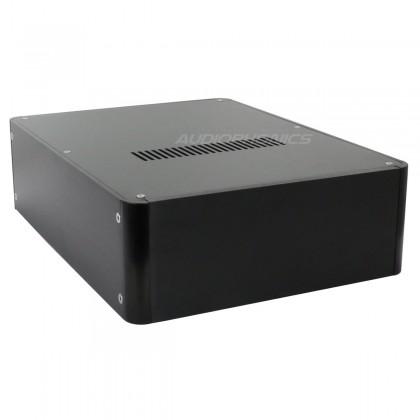 100% Aluminium DIY Box / Case round corners 319x239x89mm Black