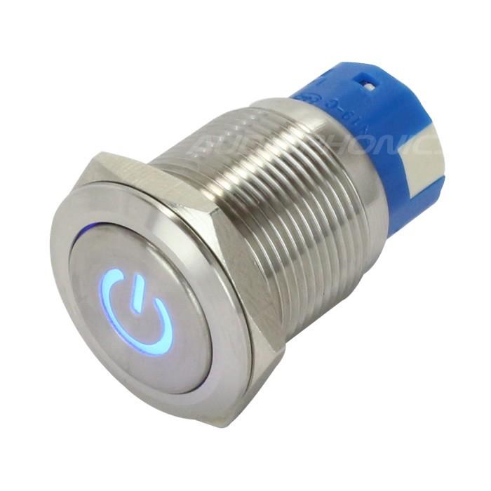 Interrupteur Inox avec Symbole Lumineux Bleu 2NO2NC 250V 5A Ø19mm Argent