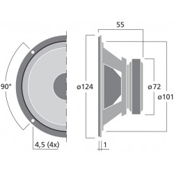 "Monacor MSH-116/4 Midrange loudspeaker 4 ohm 5"" (unit)"