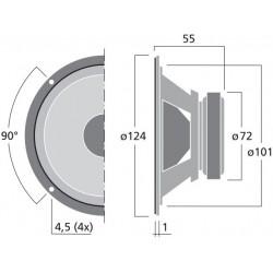 Monacor MSH-116/4 Haut-parleur Médium 4 ohm Ø11cm (Unité)