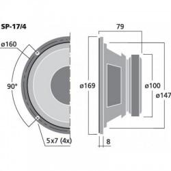 MONACOR SP-17/4 Haut-parleur Universel