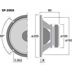 MONACOR SP-200X Haut-parleur large bande bicône HI-FI