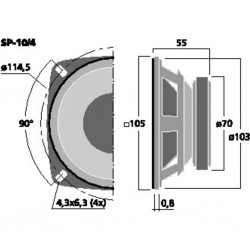 MONACOR SP-10/4 Haut-parleur Universel 4 Ohm Ø10cm (Unité)