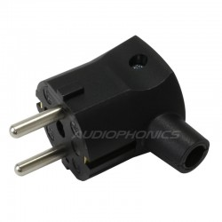 Angled SCHUKO Connector Black 250V 16A Ø 10mm