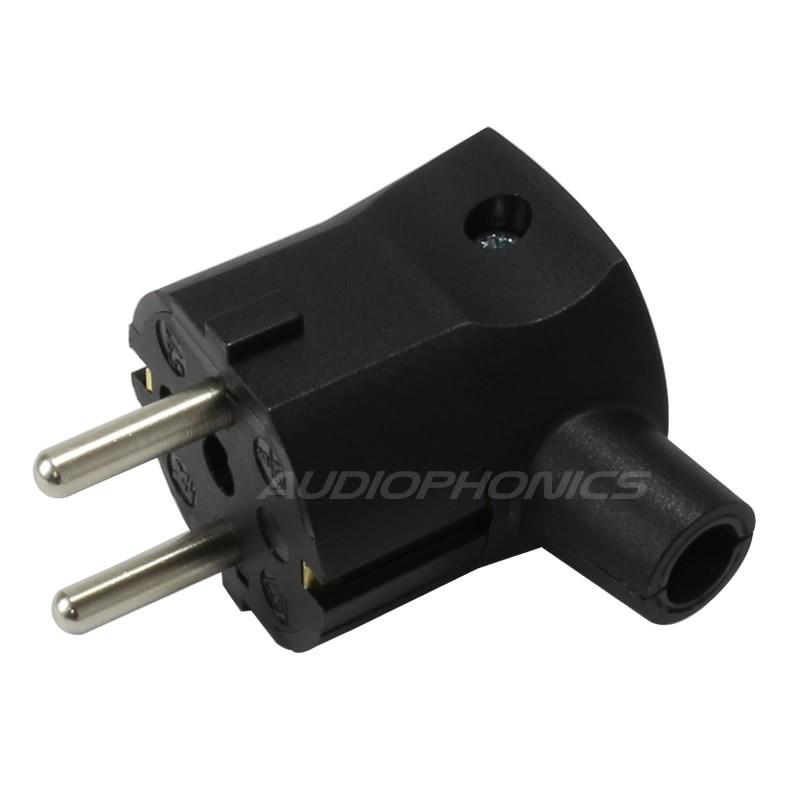 Angled SCHUKO Connector Black 250V 16A Ø 9.5mm