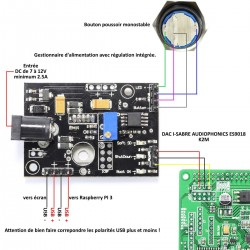 AUDIOPHONICS PI Module de contrôle/Alimentation pour Raspberry Pi