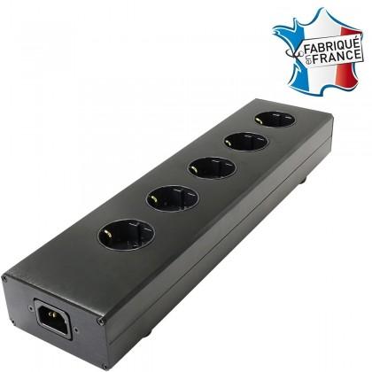 AUDIOPHONICS MPC5 IEC Aluminium Power Distributor 5 sockets Gold Plated Black