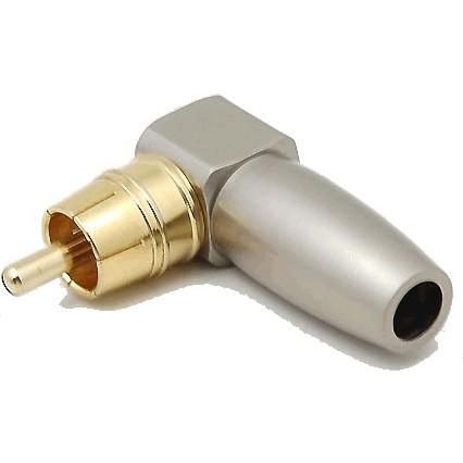 WM AUDIO Connecteur RCA coudé 90° Plaqué Or Ø6.2mm (Unité)