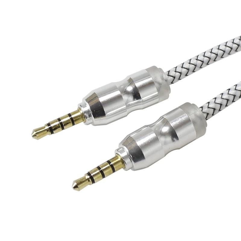 Câble de modulation Jack 3.5mm vers Jack 3.5mm 4 pôles Plaqué Or Blanc 1m