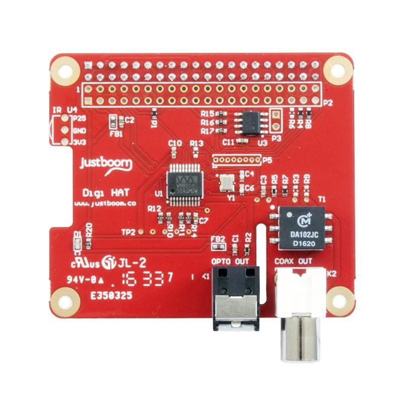 JustBoom Digi HAT Interface digitale 24Bit/192kHZ Raspberry Pi 3 / Pi 2 / A+ B+