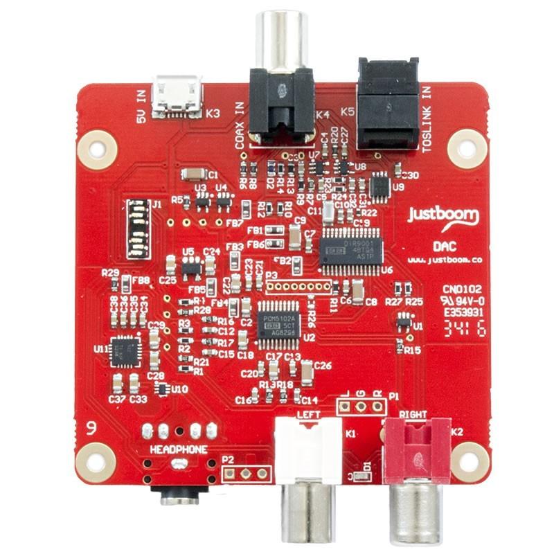 JustBoom DAC PCM5122 24bit/96kHz Entrées SPDIF Optique Coaxial
