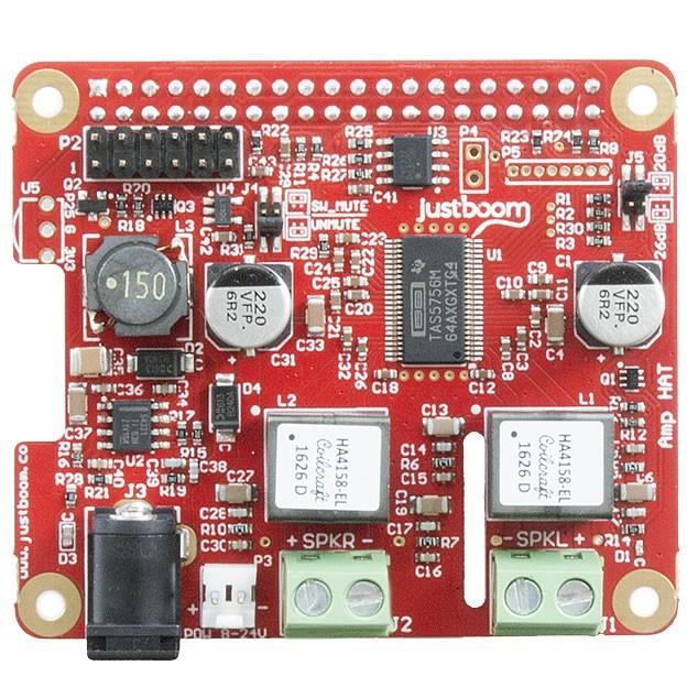 JUSTBOOM AMP HAT TAS5756 Amplificateur Stéréo 2X30W 8 Ohm