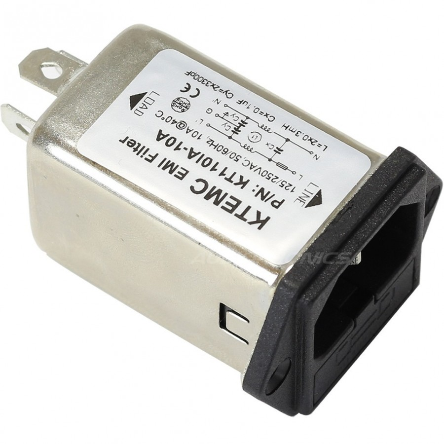 Iec Base Emi Rfi Noise Filter 230v 10a With Fuse Holder Audiophonics Box Processor Filtre Secteur Anti Parasites