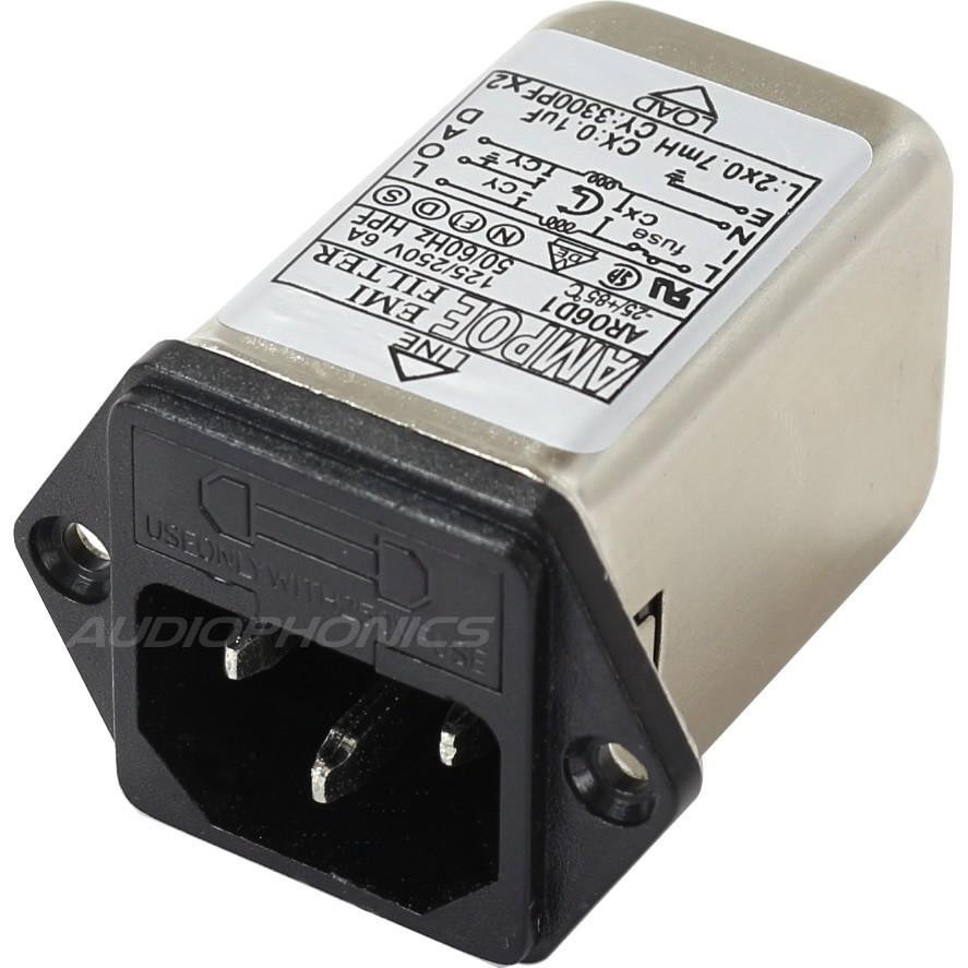 Embase Filtre Secteur IEC EMI / RFI 230V 6A avec Porte Fusible