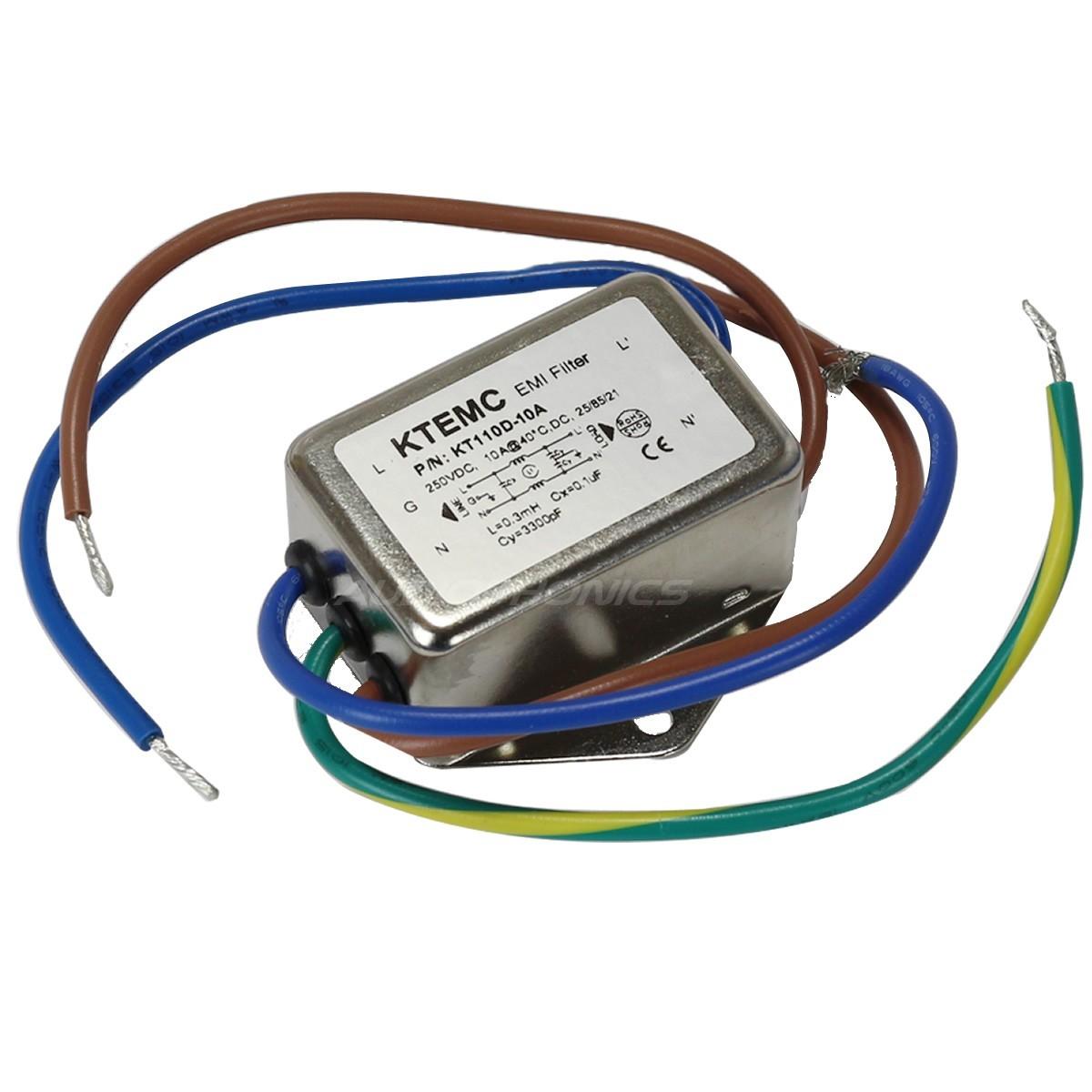 Filtre Secteur EMI / RFI 230V 10A avec Câbles