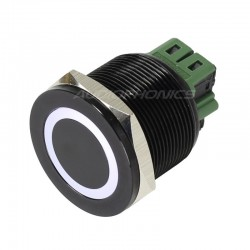Anodized Aluminium Push Button with White Circle Light 1NO1NC 250V 5A Ø25mm Black