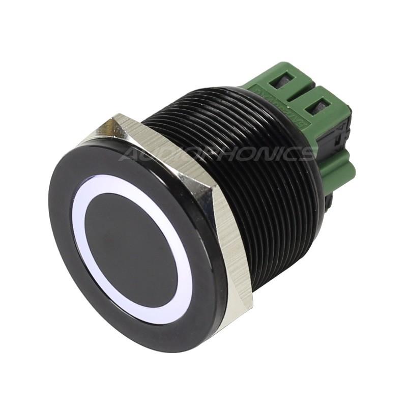 Bouton poussoir aluminium anodisé noir Cercle lumineux blanc 250V 5A Ø25mm