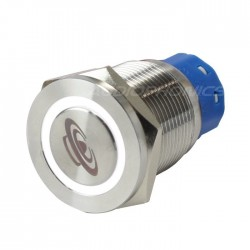 Stainless steel switch White light symbol 250V 5A Ø19mm
