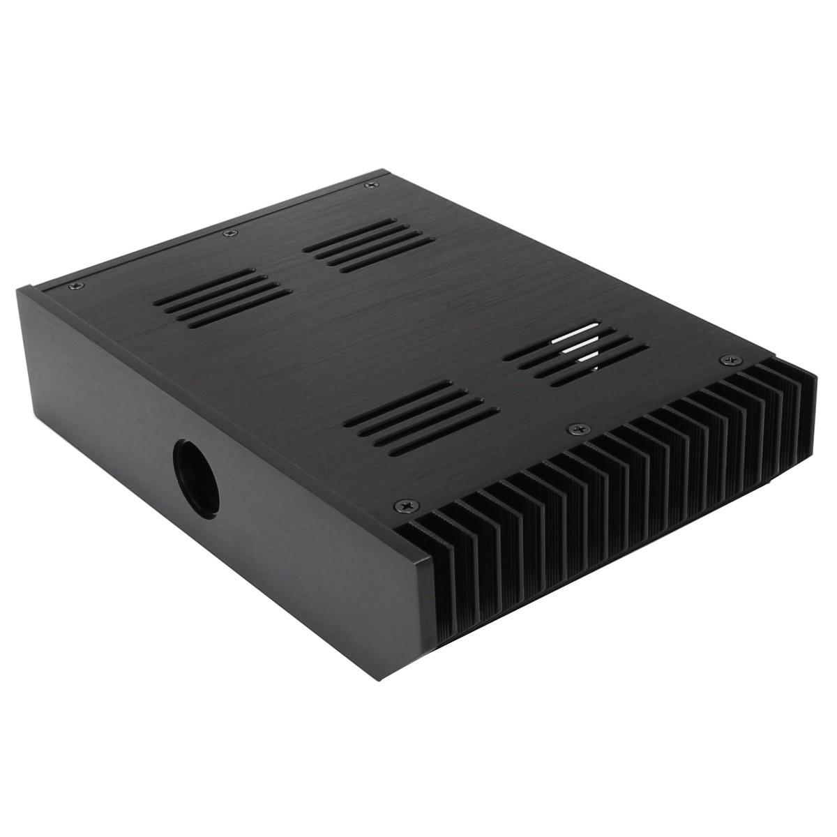 Boîtier aluminium anodisé noir pour alimentation DIY 240x168x50mm