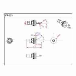 FURUTECH FT-903 (R) Embases RCA Cuivre pur plaqué Rhodium (La paire)
