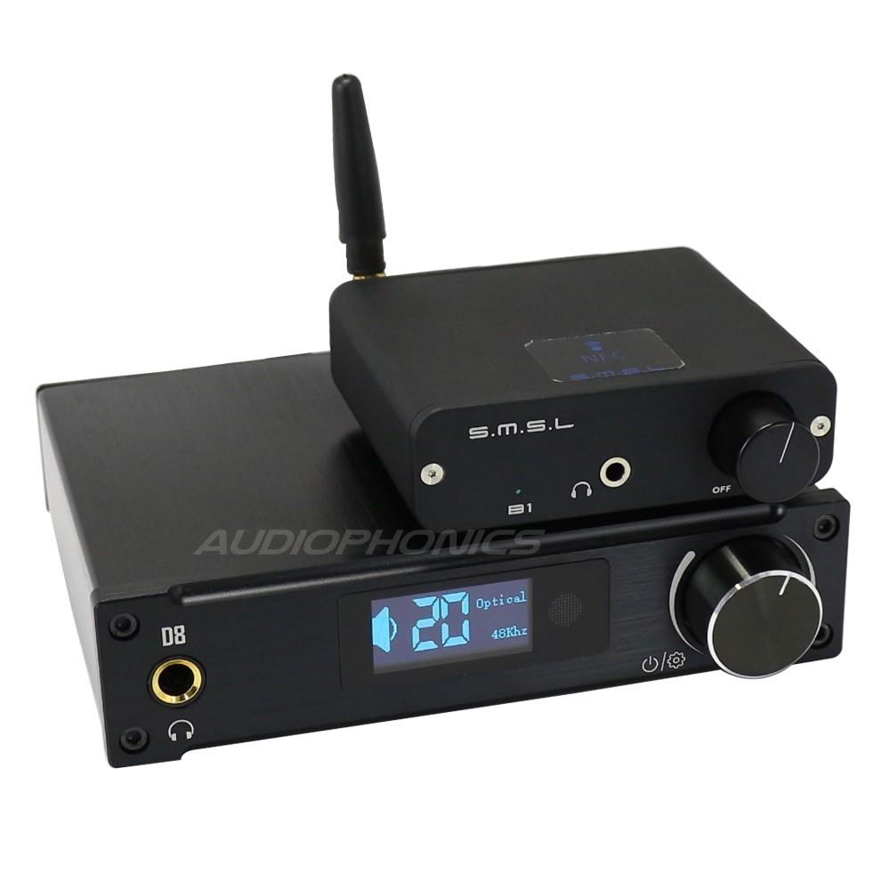 Pack Full Digital Alientek D8 2x50W / SMSL B1 Bluetooth apt-X / Coaxial SPDIF 1.8m