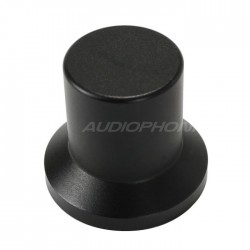 Bouton aluminium noir 22x25x17mm Axe méplat Ø6mm