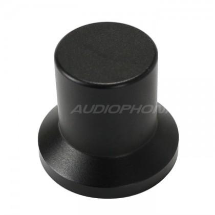 Bouton Aluminium Axe Méplat 22x25x17mm Ø6mm Noir