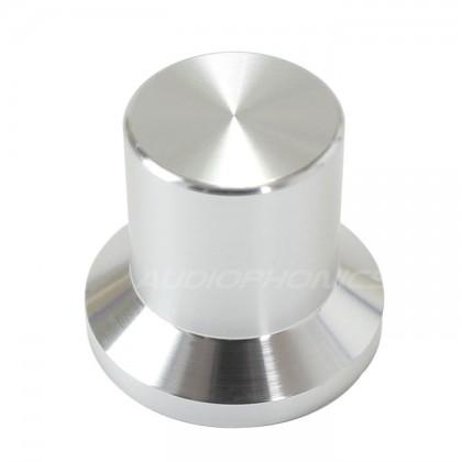 Silver aluminum button 22x25x17mm Axis Ø6mm
