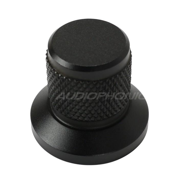 Bouton aluminium Grip noir 22x25x17mm Axe méplat Ø6mm