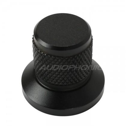 Bouton aluminium Grip noir 25x30x22mm Axe méplat Ø6mm