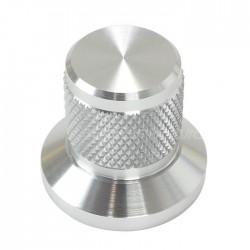 Bouton Aluminium Grip Axe Méplat 25x30x22mm Ø6mm Argent