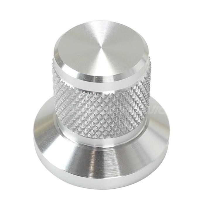 Bouton aluminium Grip argent 25x30x22mm Axe méplat Ø6mm