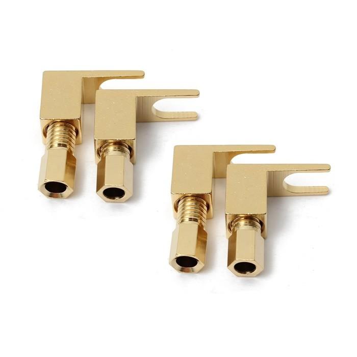 Fourches Cuivre plaqué Or Ø 6mm pour Amplificateur vintage (Set x4)