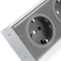 AUDIOPHONICS Distributeur secteur aluminium 6 ports Schuko Noir