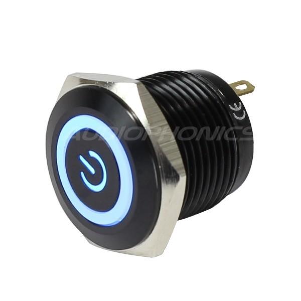 Bouton Poussoir Aluminium Anodisé avec Symbole Power Lumineux Bleu 1NO 36V 2A Ø16mm Noir