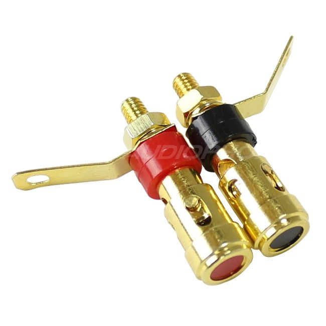 Borniers à pince isolés Plaqués Or Ø9.5mm x 33mm (La paire)