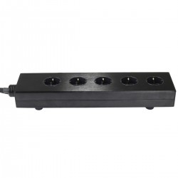 AUDIOPHONICS MPC5 LTE Aluminium Power Distributor 5 sockets Gold Plated Black